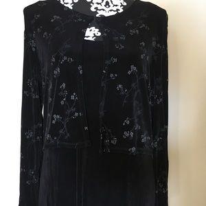 CAROLE LITTLE black  dress w/attached jacket